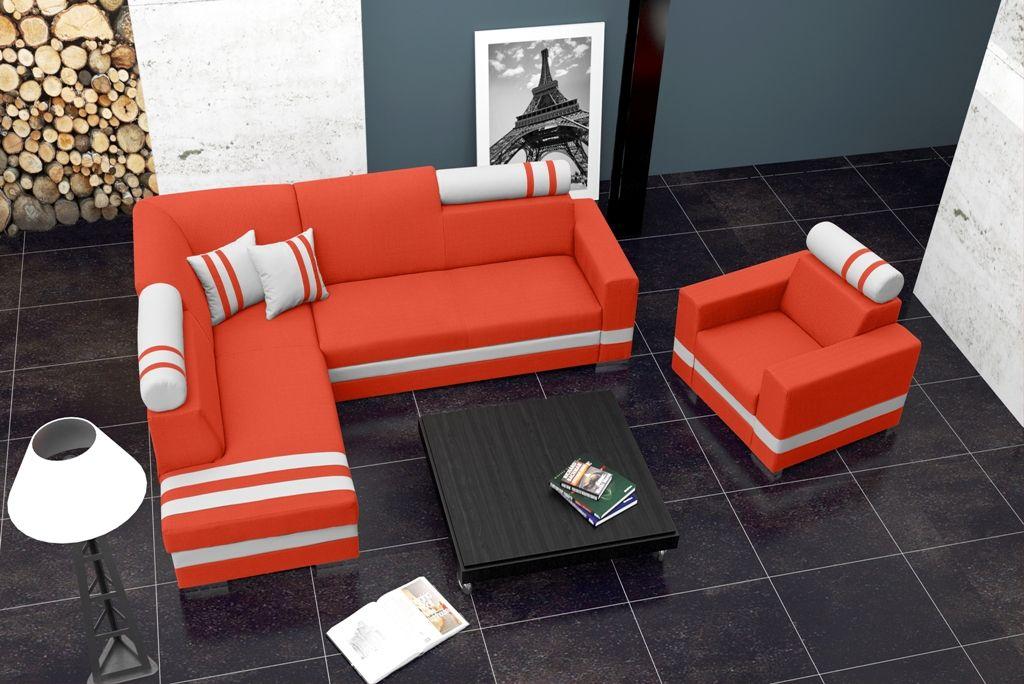 Details zu ECKSOFA COUCH MIT SCHLAFFUNKTION ECKCOUCH POLSTERGARNITUR - Wohnzimmer Grau Orange