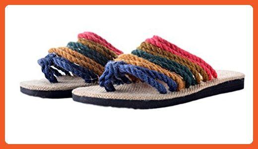 28008b384c9f07 Soojun Womens Handmade Multi Strap Unusual Jute Flat Thong Loafers Size EU  37 - Sandals for