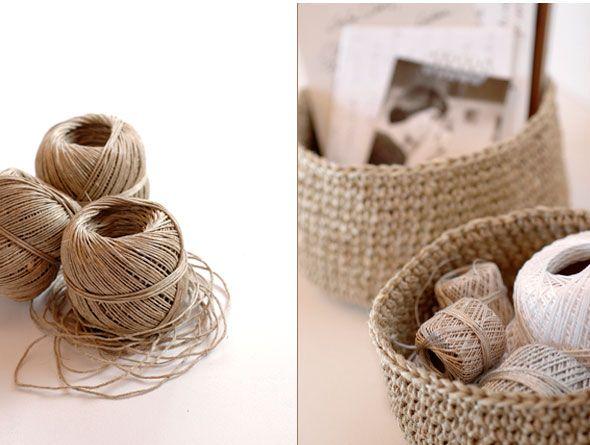 Os dejamos un sencillo paso a paso para realizar una cesta - Cesta de cuerda y ganchillo ...