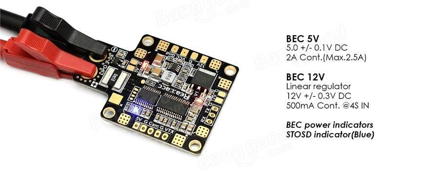 Realacc HUBOSD ECO X Type w/STOSD8 Current Sensor 5V 12V Dual BEC PDB with XT60 Plug Sale - Banggood.com