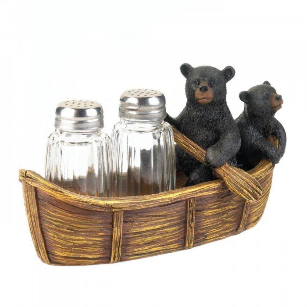 Black Bear Canoe Salt And Pepper Holder