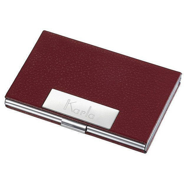 Personalized samantha red leather business card case for ladies personalized samantha red leather business card case for ladies colourmoves