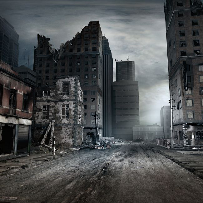 Post Apocalyptic City | abandoned empty city street | road ...