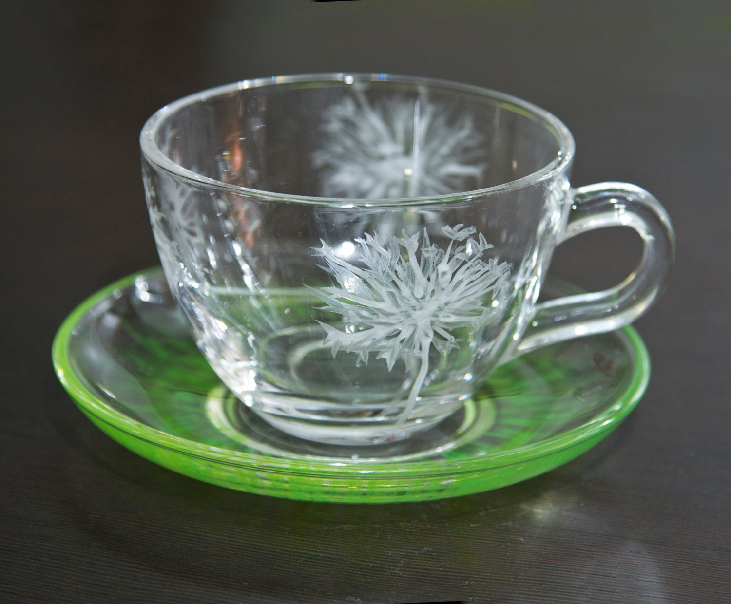 Dandelion stained glass coffee cup and saucer. Kitchen decor ...