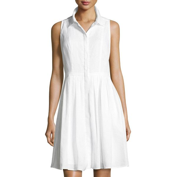 1b7bf86fb33 Neiman Marcus Sleeveless Button-Front Linen Dress ( 59) ❤ liked on Polyvore  featuring dresses