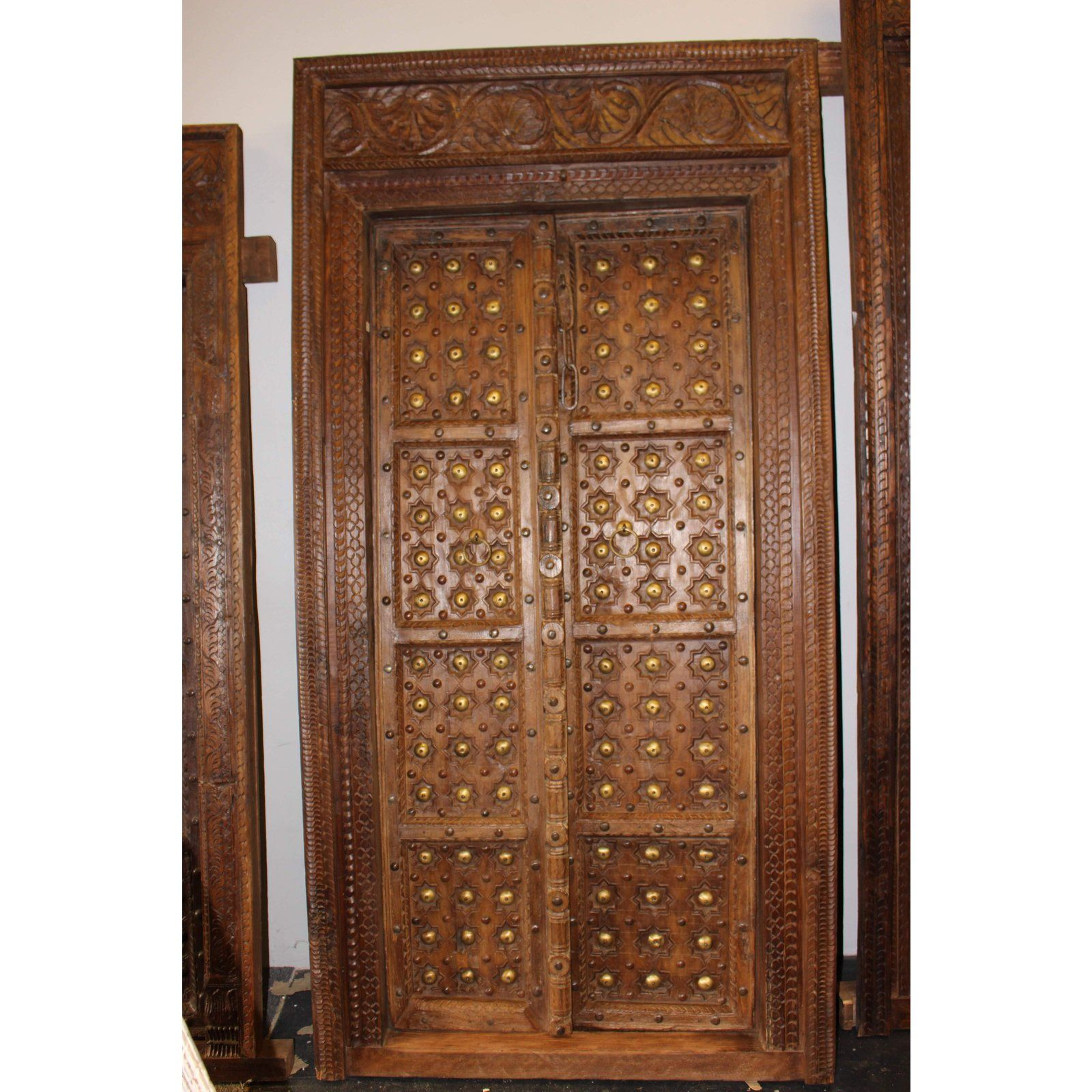 Asian Antique Indian Hand Carved Wooden Door and Frame For