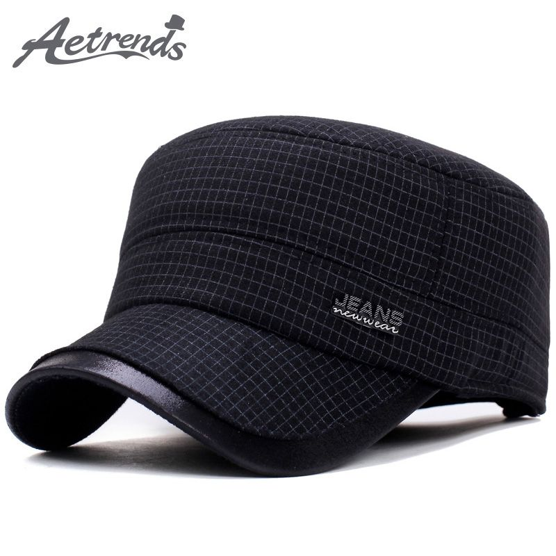 917d7d95a44e 2017 New Winter Military Hats for Men Warm with Ear Flaps Flat Caps Dad Hat  Men s Cap Z-5936