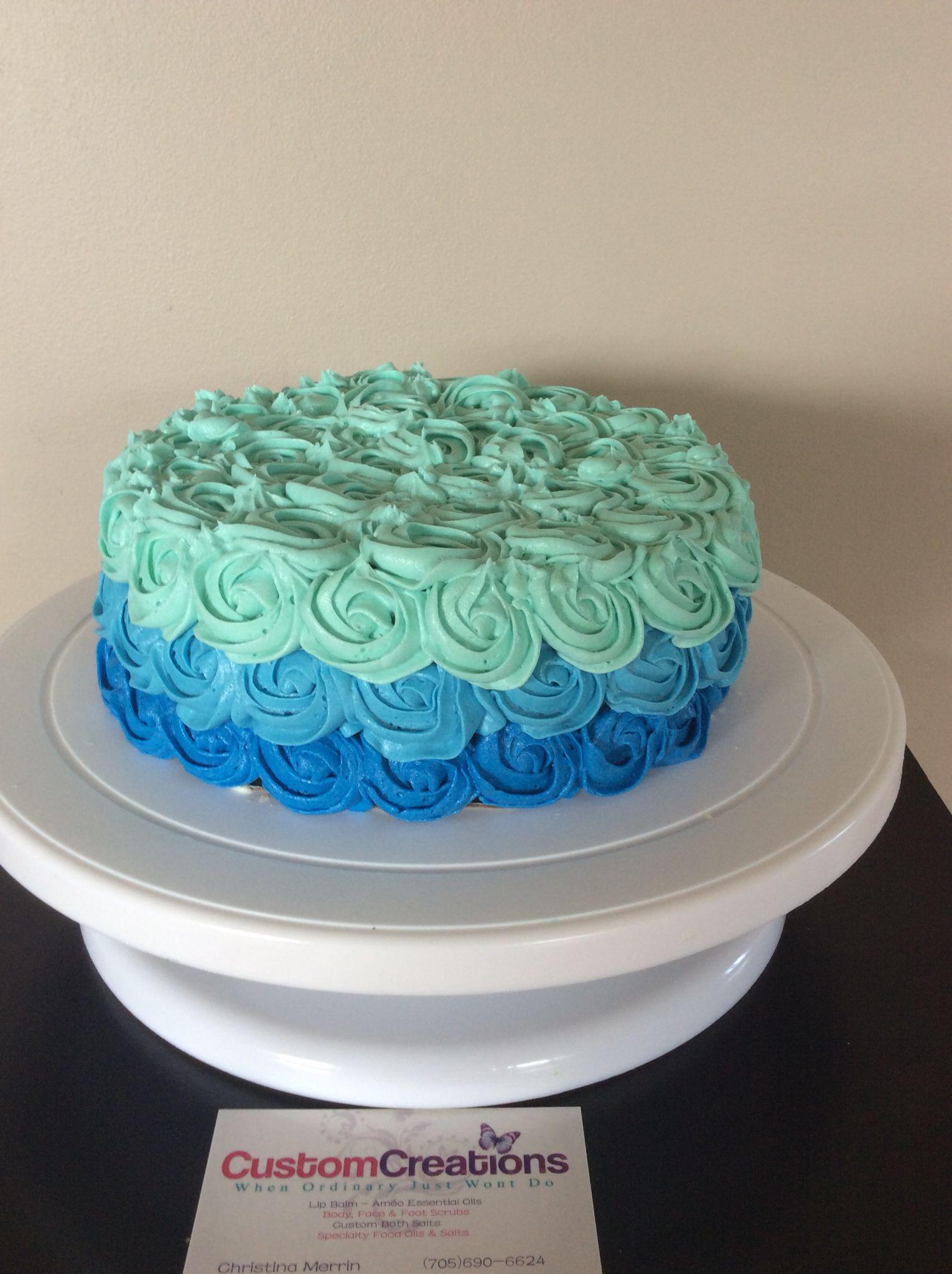 1st birthday boy smash cake. Dark blue, light blue and ...