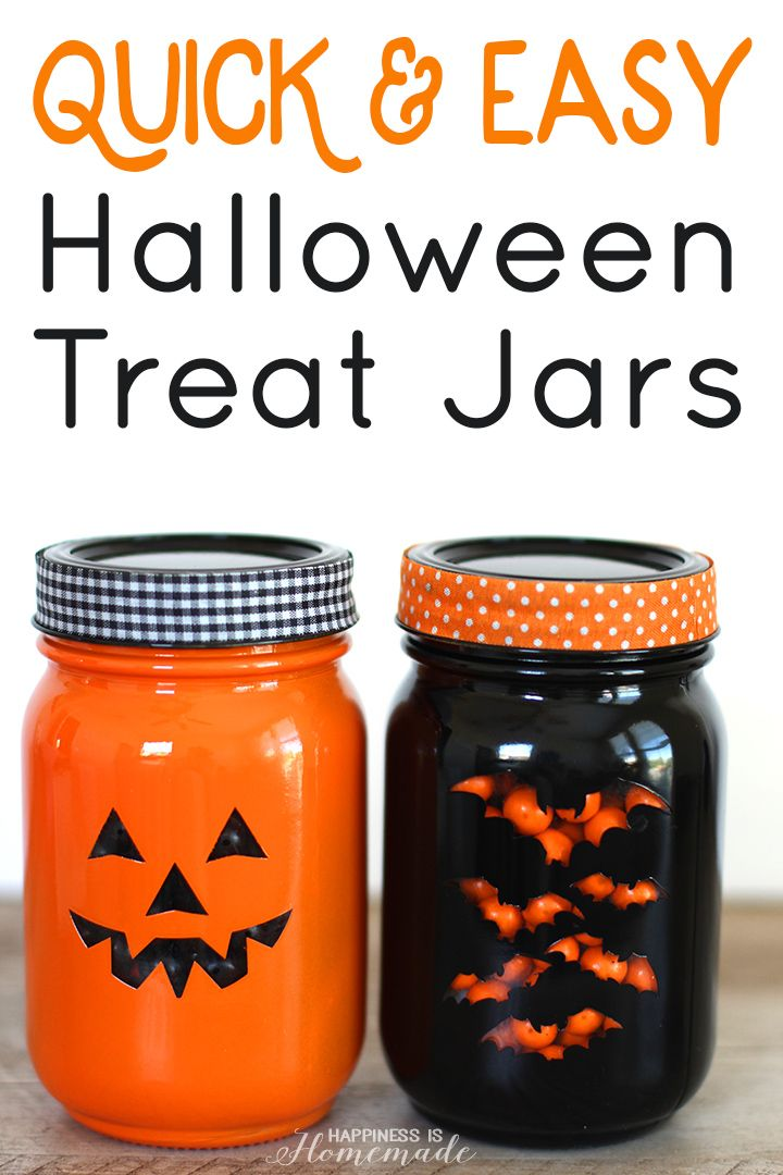 Quick  Easy Halloween Treat Jars - Happiness is Homemade (Diy - cute halloween gift ideas