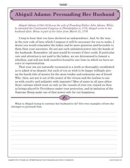 Abigail Adams Persuading Her Husband K12 Reading