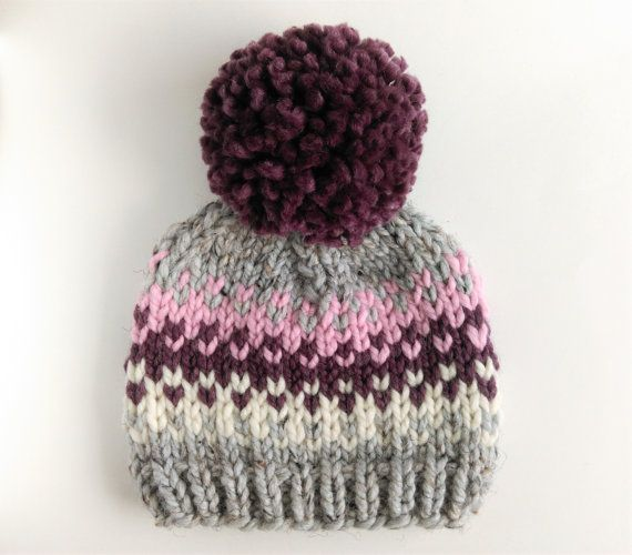 Fair Isle Hat Pattern // Pom Pom Hat Knitting by KniftyKnittings ...
