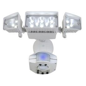 Outside security utilitech 360 degree 3 head dual detection zone utilitech dual detection zone white integrated led motion activated flood light with timer at lowes add extra lighting and security around your home with mozeypictures Choice Image