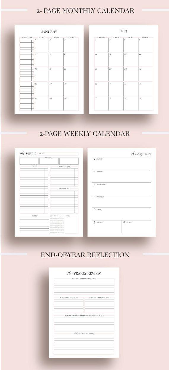 2017 Planner Printable 2017 Monthly Planner 2017 Weekly Planner 2017