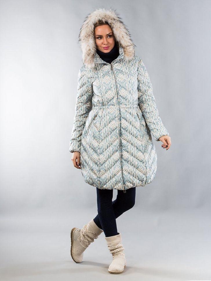 Купить Пуховик NAUMI WF14021 - бежевая вязка по цене 23 200 руб. в интернет магазине 100 блондинок