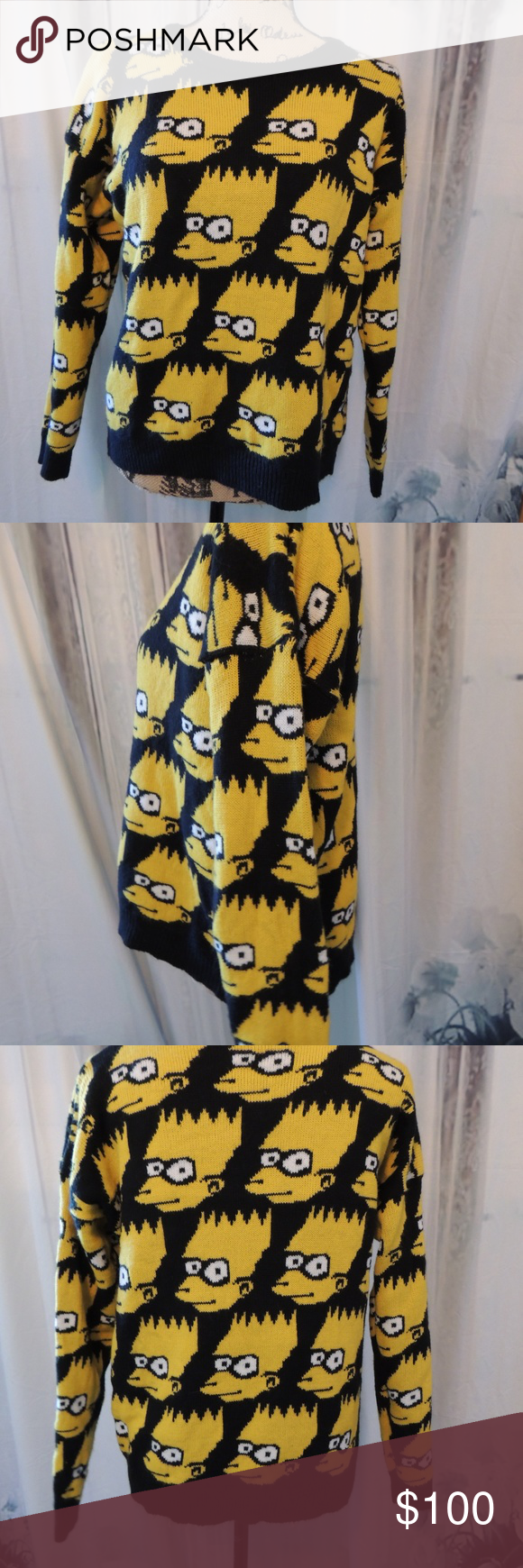 Vintage The Simpsons Bart Simpson Face Sweater Clothes Design Sweaters Vintage Sweaters [ 1740 x 580 Pixel ]
