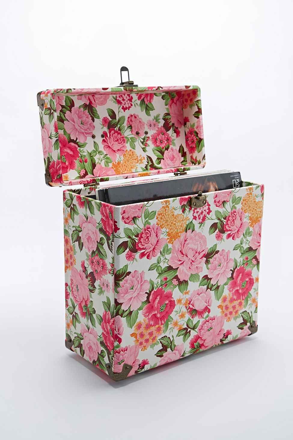 Crosley 12 Record Carrier Case In Floral Mobilier De Salon Caisse Idees Pour La Maison