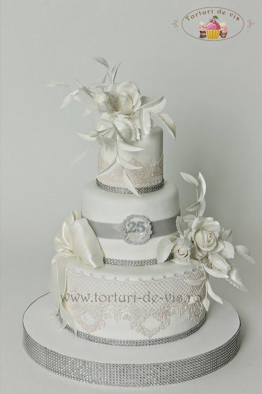 Torturi De Vis Tort Elegant Pentru Nunta De Argint Amazing Cakes