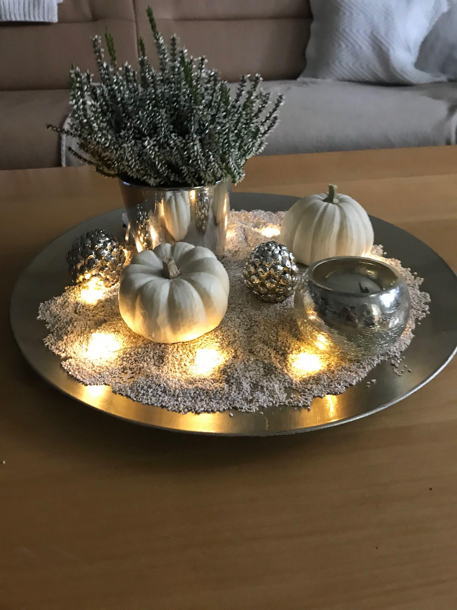 Herbstdeko Silber Weiss Herbst Dekoration Herbstdeko