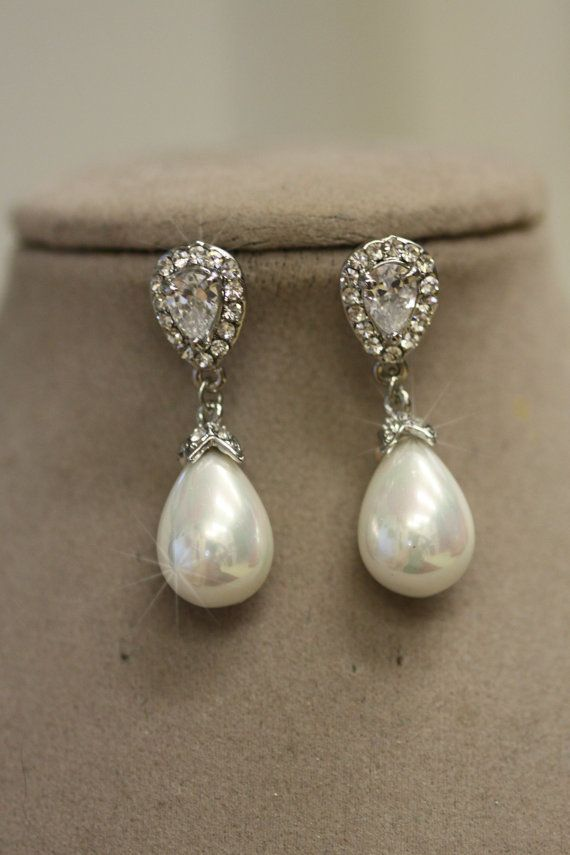 Bridal Earrings Pearl Wedding Crystal Drop Chandelier