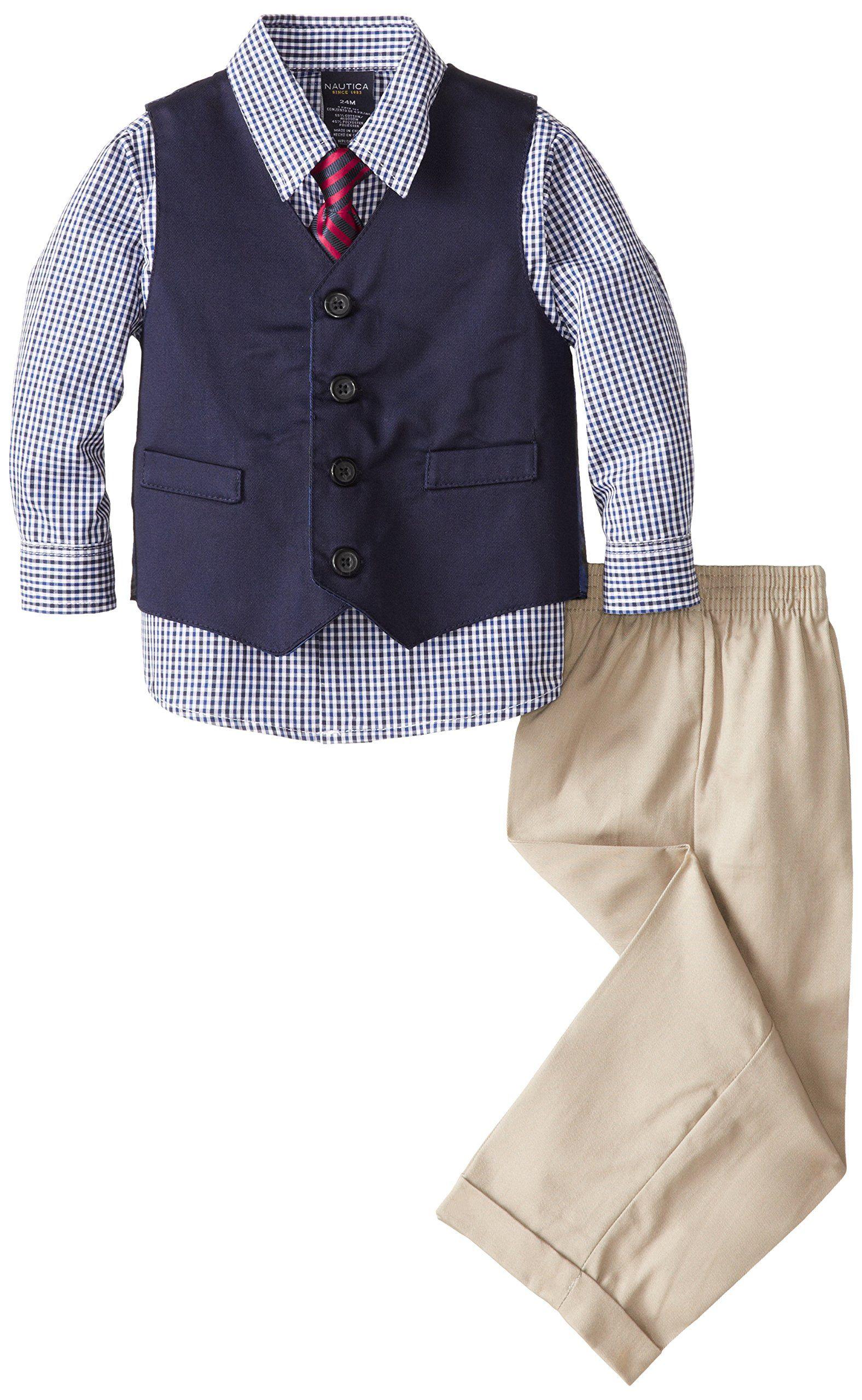 Nautica Baby Boys Twill Vest Set Khaki 18 Months