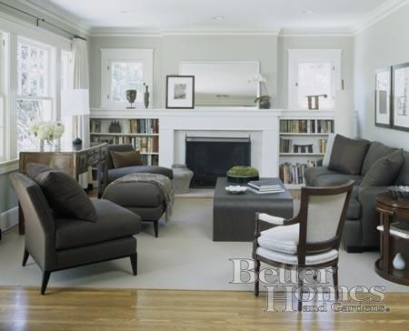 Decorating a mantle dark furniture and built ins - Living room furniture with grey walls ...