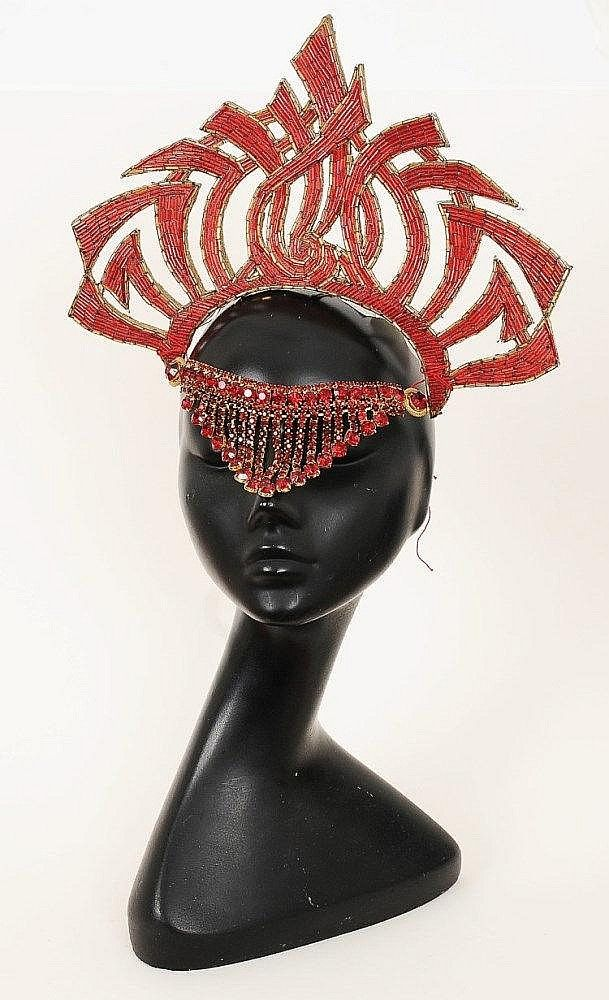 90da81eed89 A red silk jersey dress and red beaded headress worn by the character of Dale  Arden in 1980 film Flash Gordon (played by