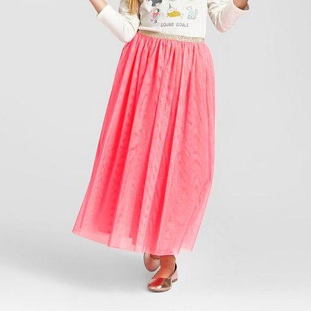 bc340b62e Girls' Glitter Tulle Maxi Skirt Luminous Coral - Cat & Jack™ : Target