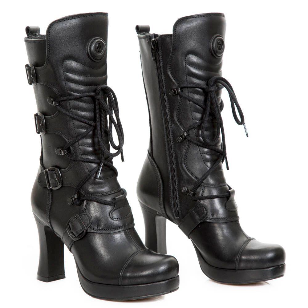 8752497eff2  Botas negras  goticas de newrock cuero negro con cordones  tacón alto para