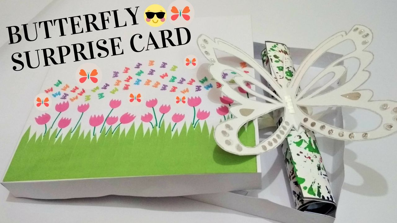 Diy butterfly pop up card flying butterfly surprise card