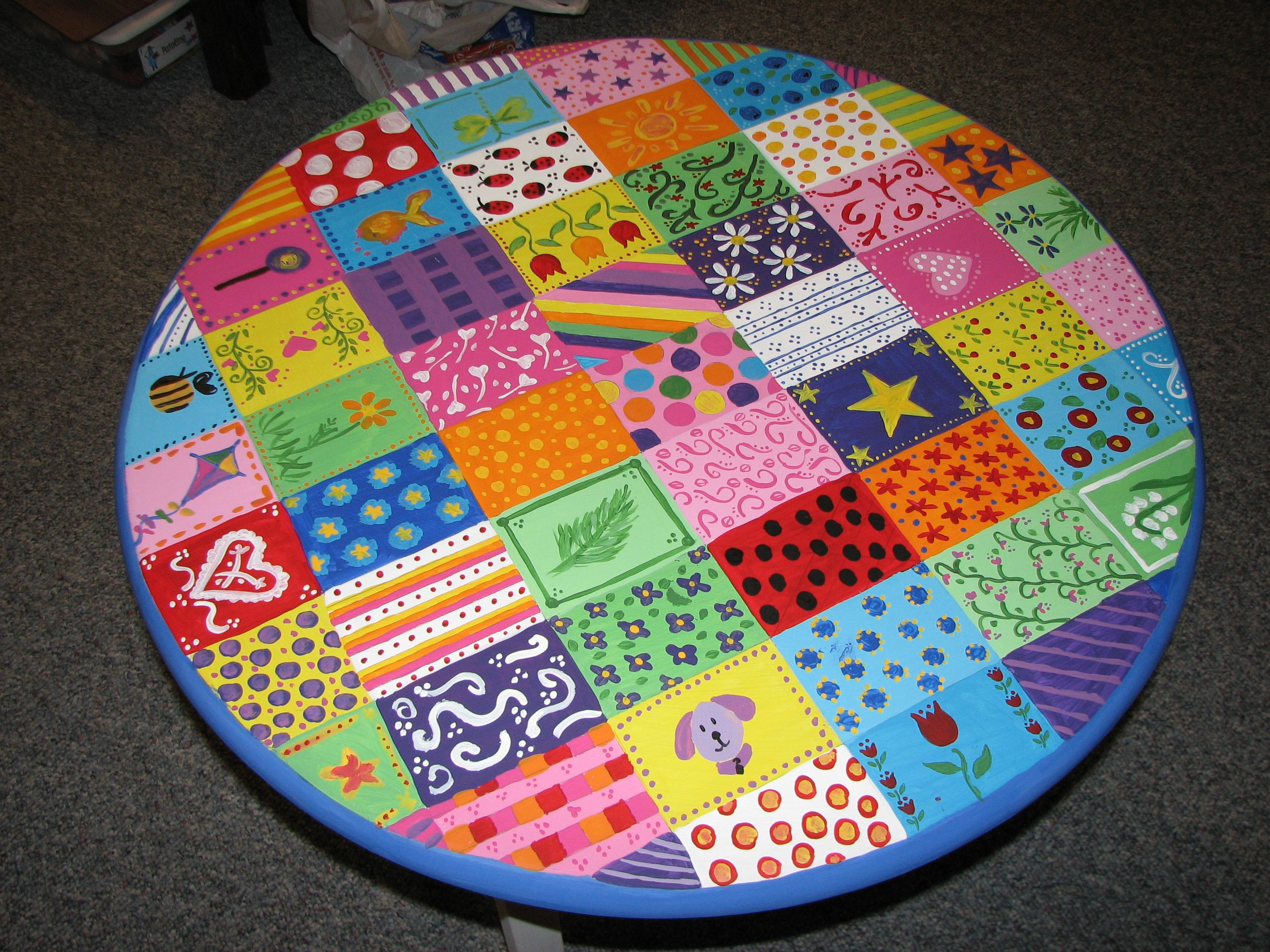 Handpainted children's table Acrylic paint with sealer on