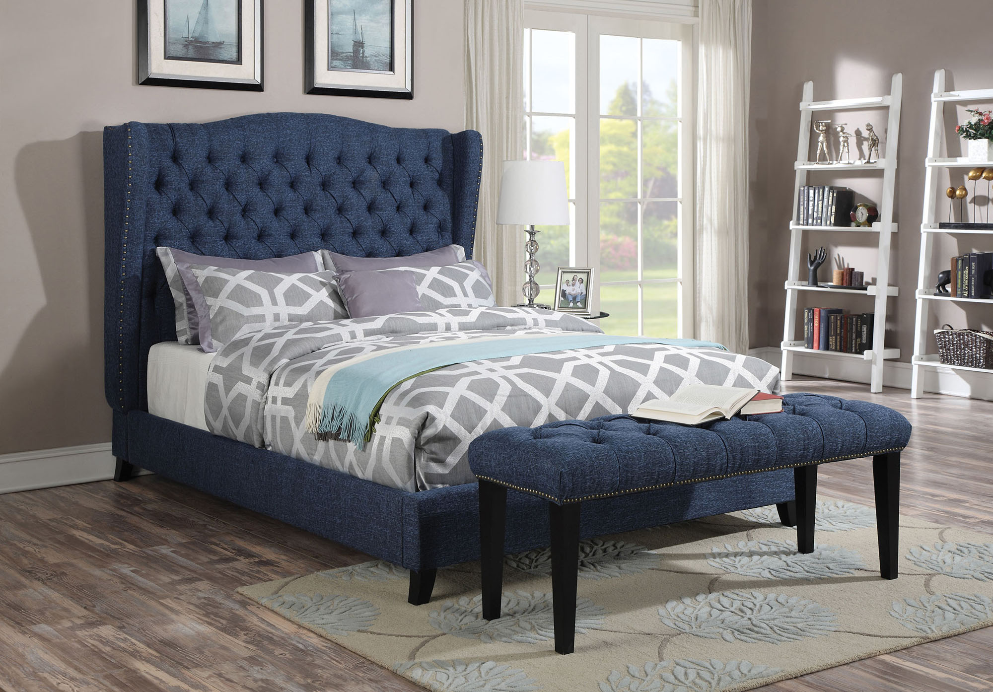 Best Faye Queen Blue Linen Upholstered Bed Acme Furniture 400 x 300