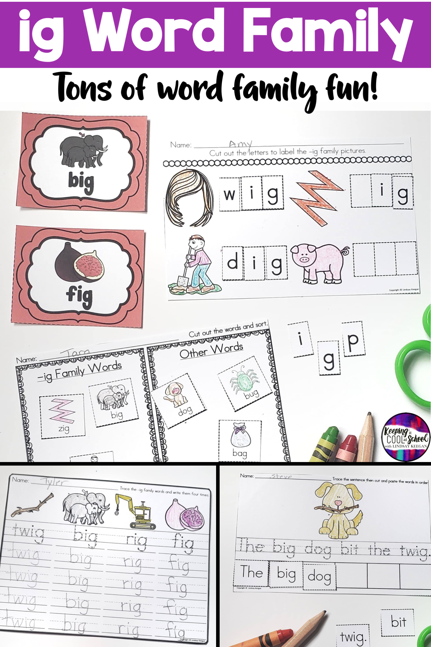 Ig Word Family Worksheets