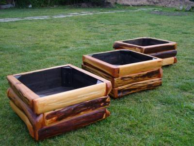 Maceteros rusticos maceteros madera de lambersiana patas - Maceteros de madera para exterior ...