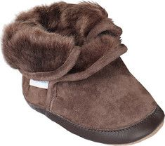 Your child will want to wear these cozy booties all winter long and maybe in the spring as well. With its faux fur lined inside and its suede upper, this shoe will keep your infant/ toddler warm and snuggly. Like all Robeez Soft Soles, this footwear features a non-slip suede outsole, which protects