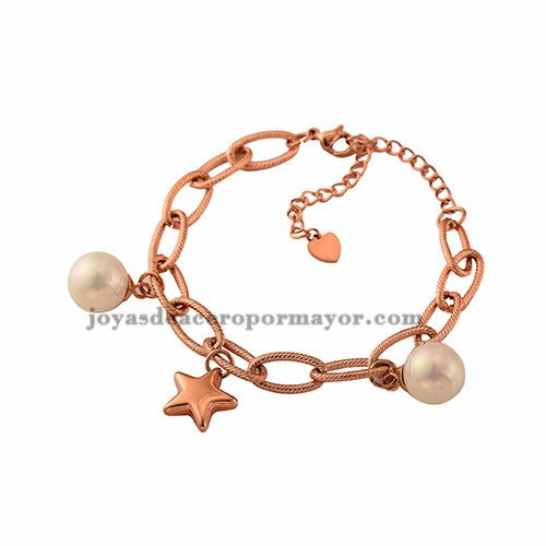 fdcbbedcce85 pulsera de perla en color oro rosado de moda para mujer -SSBTG602598  Bangles
