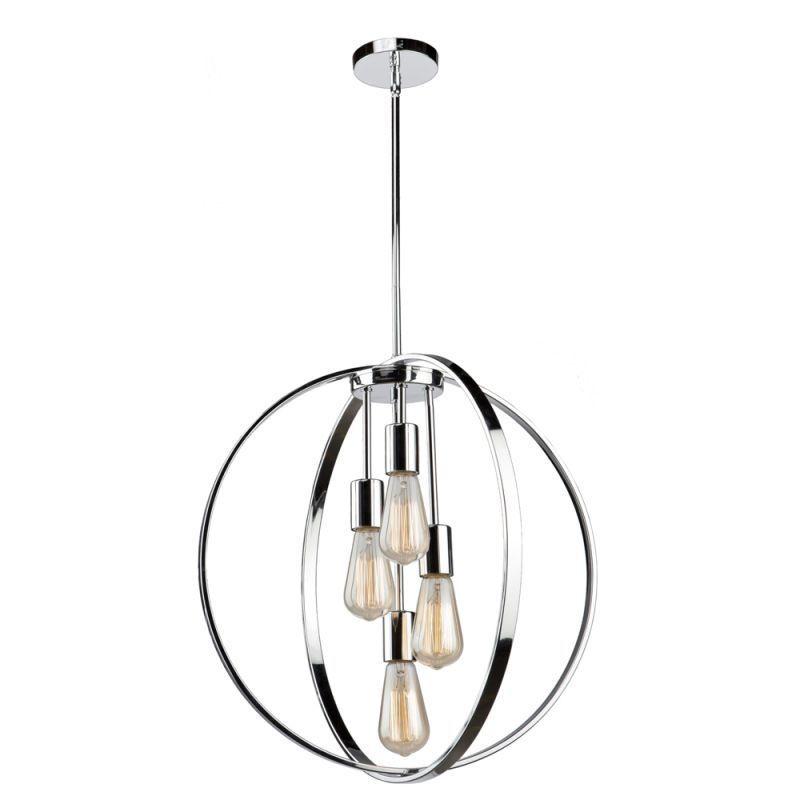 """Artcraft Lighting AC10884 Newport 4 Light 24"""" Wide Chandelier Chrome Indoor Lighting Chandeliers"""