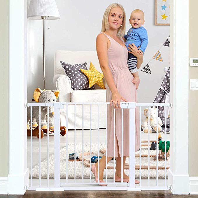 Amazon Com Cumbor 51 6 Inch Baby Gate Extra Wide Easy Walk Thru Dog Gate For The House Auto Close Baby Gates In 2020 Baby Gates Wood Baby Gate Baby Gate For Stairs