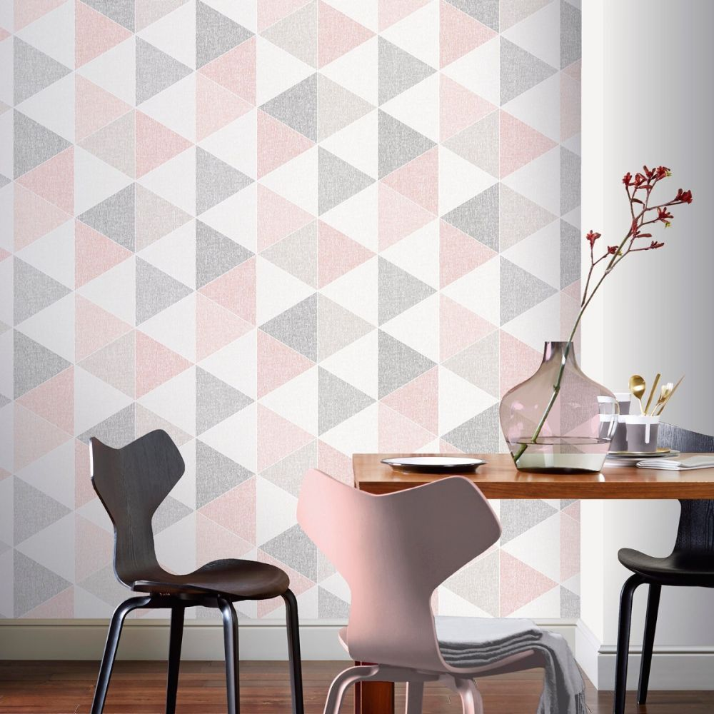 Scandi Geo Triangle Wallpaper Pink And Grey Arthouse 908204 Feature Wall Bedroom Teal Wallpaper Wallpaper Bedroom