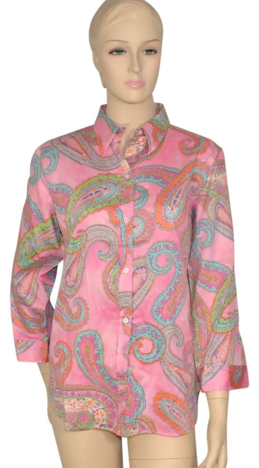 Ralph Lauren Pink Paisley Cotton Blouse Button Down Shirt. Get the lowest price in town on this fabulous Lauren by Ralph Lauren Paisley Cotton Blouse button-down shirt in Pink and other colors too! Tradesy makes designer fashion affordable and fun. Shop now