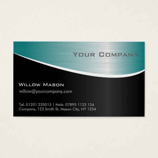 Aqua Stainless Steel Professional Business Card Zazzle Com Professional Business Cards Business Cards Blue Business Card