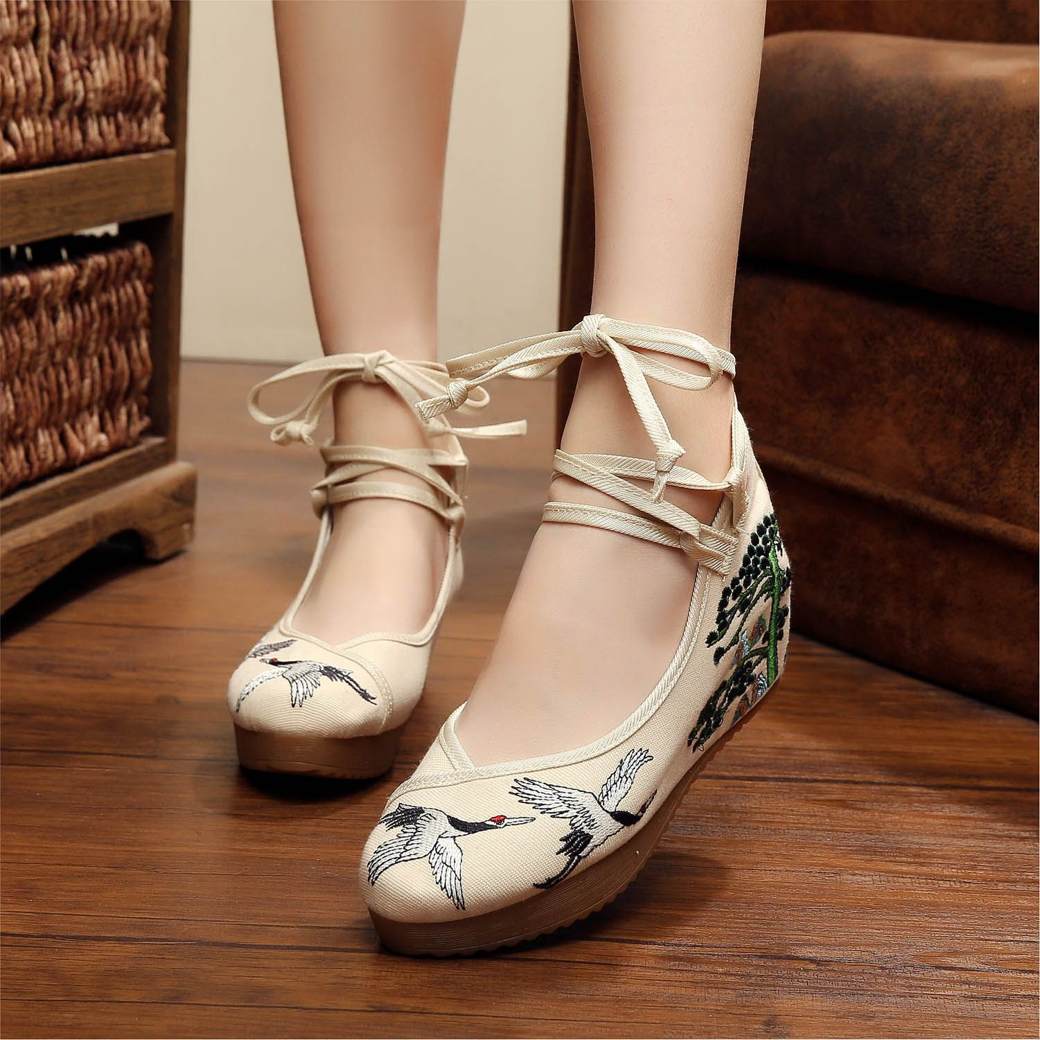 YRZB Women Chinese Embroidery Wedge Strappy Cotton Shoes in 2019 ... 23ebe50d6438