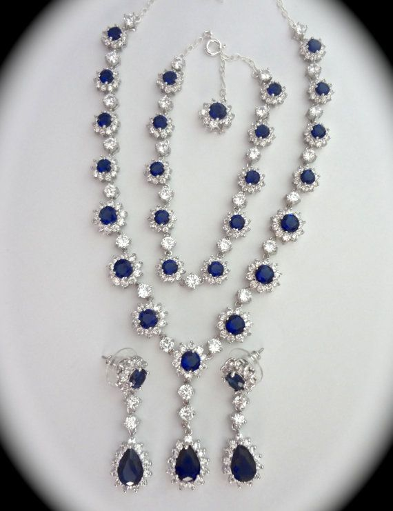 Bridal Jewelry Set For A Bride Halo Cz Blue Sapphire