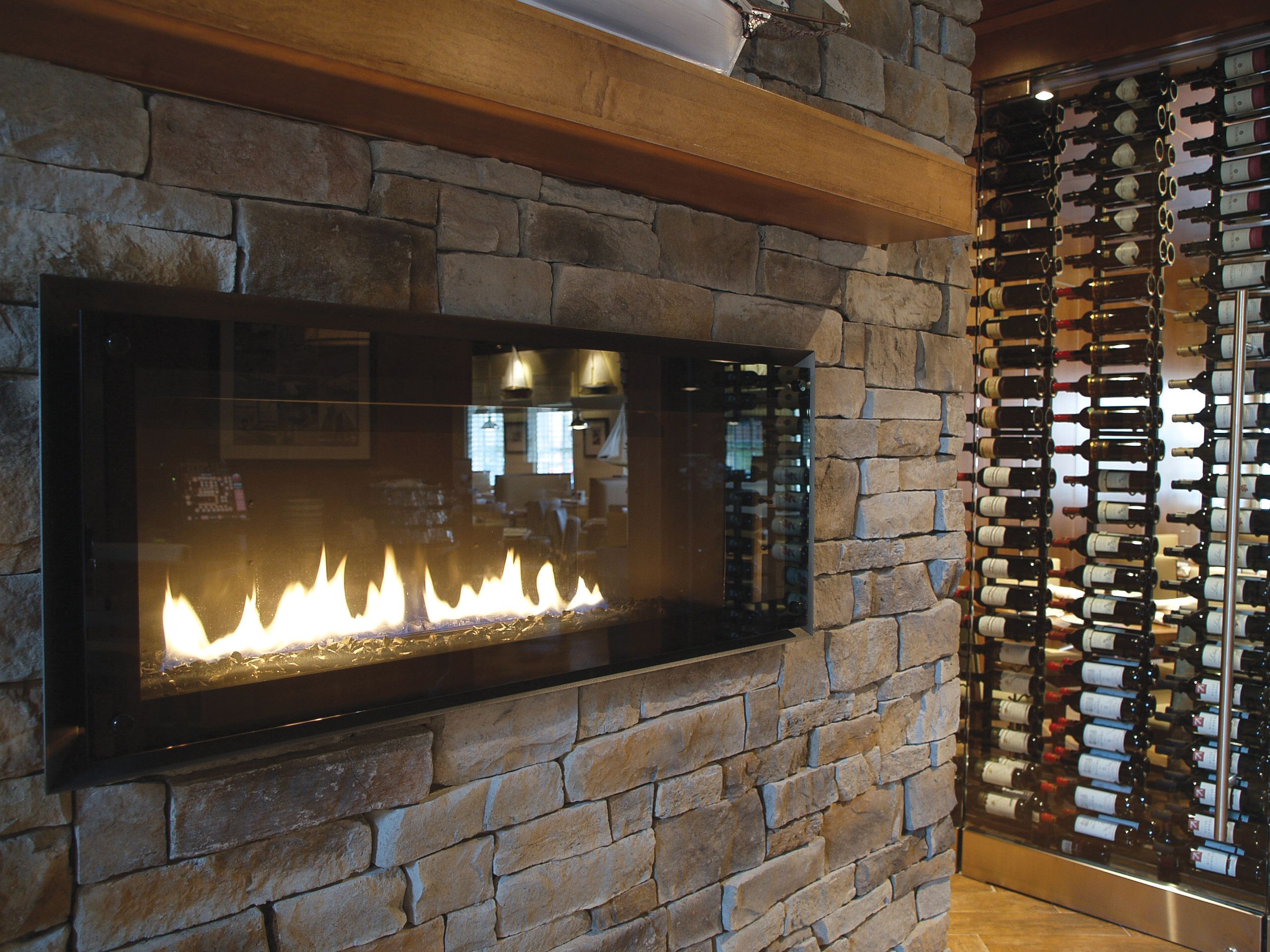 modern fireplace and stone veneer project of stone selex inc