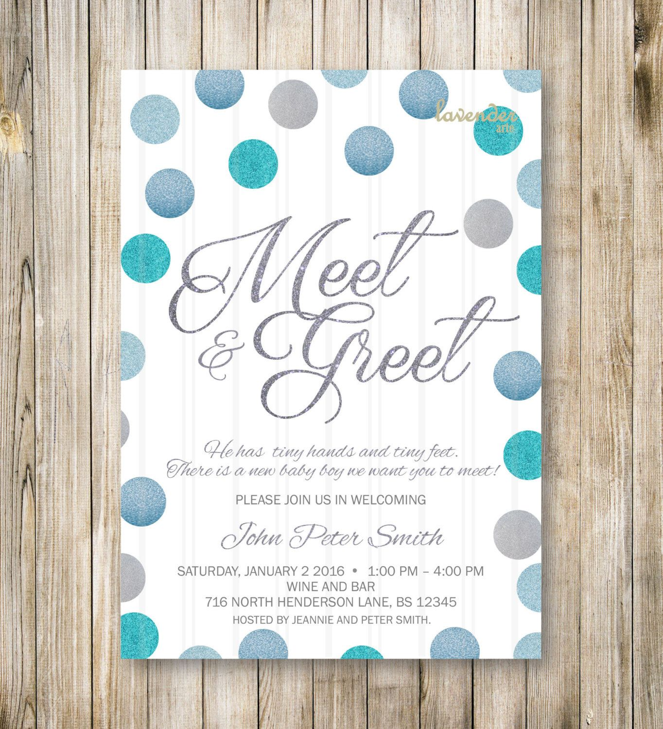 Meet And Greet Invitation Silver Blue Glitters Meet The Baby Invite