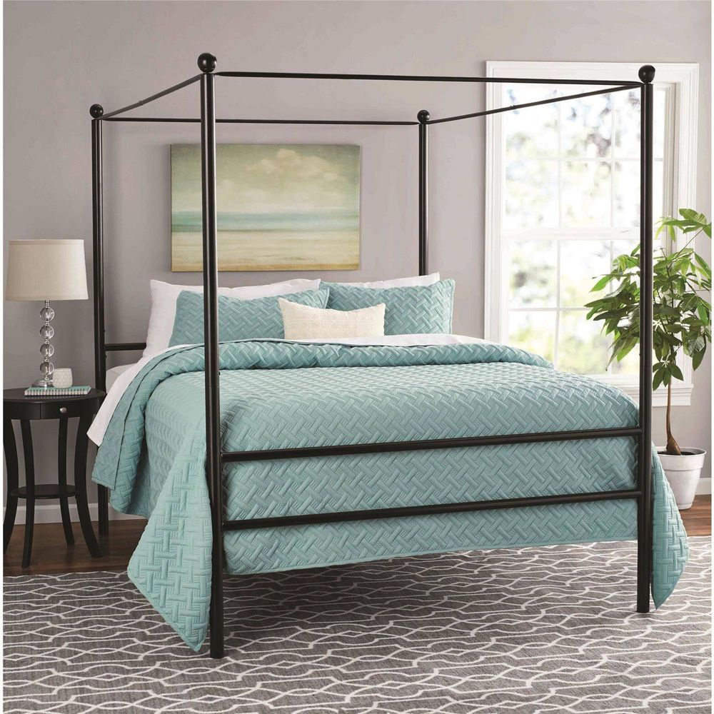 Queen Canopy Bed Black Finish Metal Frame Modern Platform
