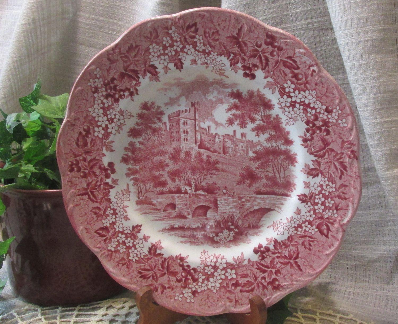 GOOD! 6 Romantic England Meakin England Dinner Plates Derbyshire Haddon Hall