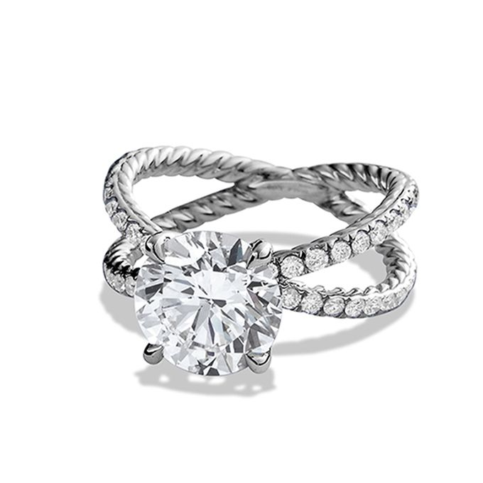 style wr1039rpl crossover pav round cut diamond engagement ring with twin pav - David Yurman Wedding Rings