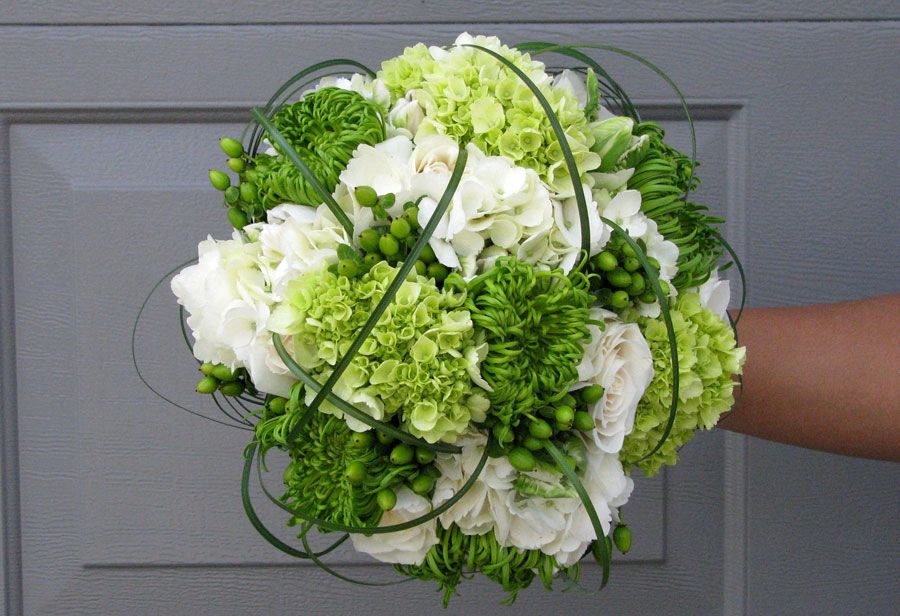 Contemporary Wedding Bouquet Arranged With: White Hydrangea, Green Hydrangea, Green Spider Mums, Green Hypericum Berries, Green Lily Grass Loops