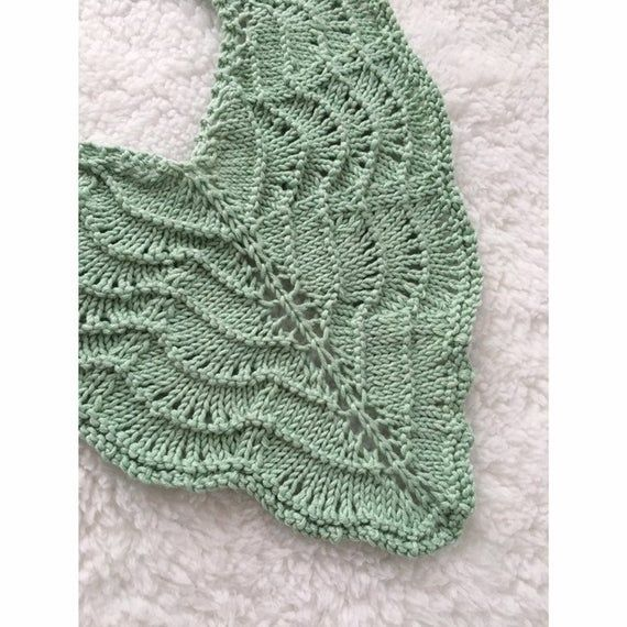 Photo of Little Fig Hand Knitted Lacy Leaf Baby Collar Bib