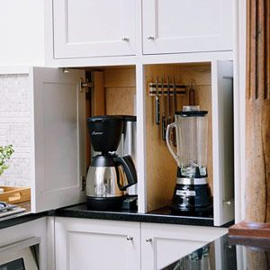 Keep Small Appliances Out Of Sight Appliance Cabinet Appliances Storage Small Appliances